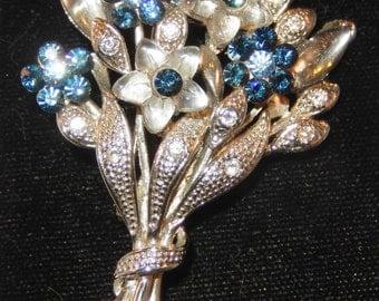 Vintage Rhinestone Bouquet Brooch