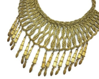 Woven Metal Bib Necklace - Fringe, Gold Tone, Boho Statement Necklace
