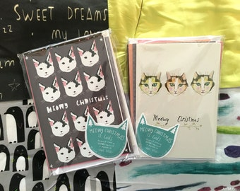 Meowy Christmas cat card pack