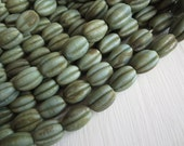 Green  lampwork glass beads, melon oval wavy , dark rustic gritty aged look , indonesian  -  15-17mm  / 6 beads, 5A8-3