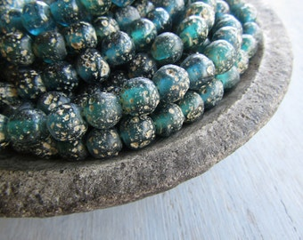 Round green blue glass beads, rustic lampwork beads, translucent teal beads, gritty textured aged look indonesian 8 - 9mm (16 beads) 6bb27-2