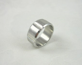 Vintage Stainless Steel Band Ring Size 10