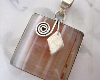 sterling silver 925 genuine sand moonstone stripe bezel set cabochon square pendant - s40