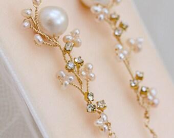 Freshwater pearl Stud Earrings with Hand Wired Rhinestone and Pearl Cascade Drop, Statement Wedding Earrings, Bridal Earrings