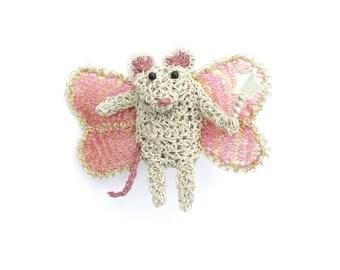 Fairy mouse brooch - cute brooch, crochet wire animal jewelry, whimsical animal, unusual gift, fantasy animal pin, handmade jewelry