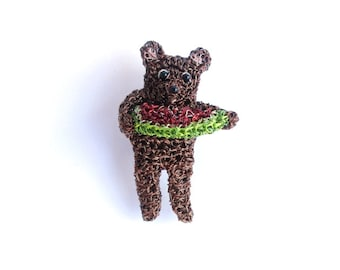 Animal brooch - bear eating a watermelon, animal jewelry, food brooch, crochet wire bear, fruit jewelry, handmade one of a kind
