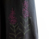 SALE -- Cactus Skirt with Wildflower Embroidery, size SMALL, Hemp and Organic Cotton with Fireweed Stitching, earth friendly