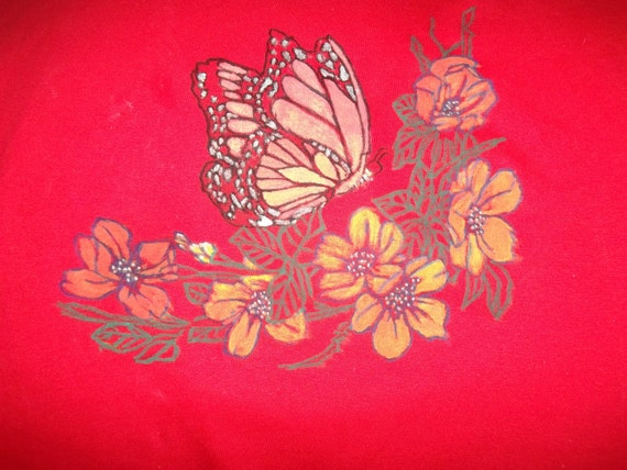 Little Girls Tshirt with Painted Butterfly and Blossom Flowers Unique Handpainted Red Tshirt Peach Yellow Silver Gift for Her