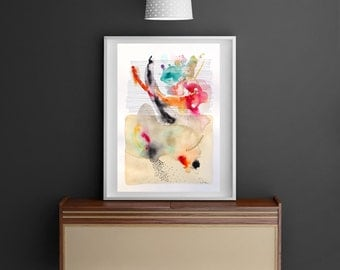 Watercolor original, abstract painting, abstract watercolor, original watercolor, colorful, wall art, home decor, gift for her, wedding gift