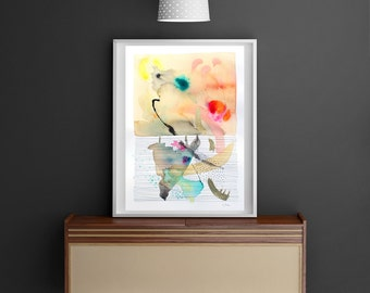 "Abstract painting, original mixed media painting, gold, contemporary art,  12,8"" x 18,1"""