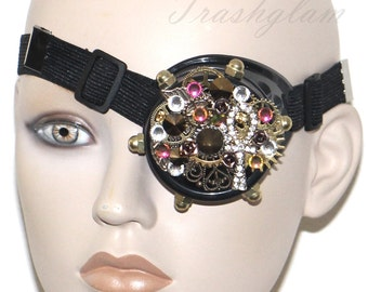 Steampunk Bejewelled Gold ANKH brass filigree swarovski crystal assemblege GOGGLES Antique egyptian glam inspired