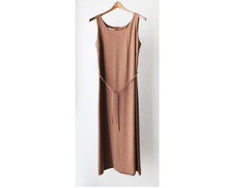 1990's Minimal Tan Sleeveless Maxi Dress