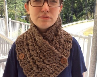 Crocheted Cabled Button Neckwarmer/Cowl/Scarf