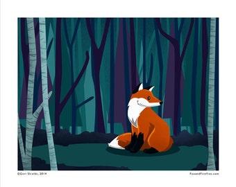 FOREST FOX - Fox and Fireflies Art Print by Geri Shields