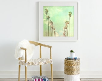 framed art Los Angeles print, palm trees, large wall art, mint green, California decor, LA photography, framed LA photograph, Myan Soffia