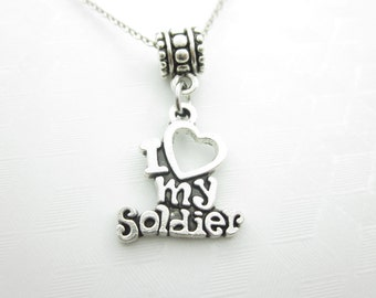 I Heart My Soldier Necklace, I Love My Soldier Charm Necklace, Antique Silver Finish, European Bead Compatible, Army Navy Airforce X035