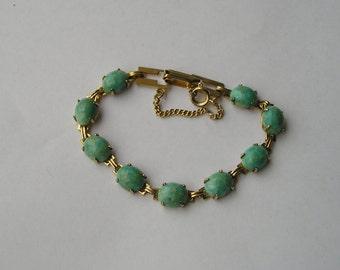 Vintage Robins Egg Blue Glass Gold Tone Link bracelet