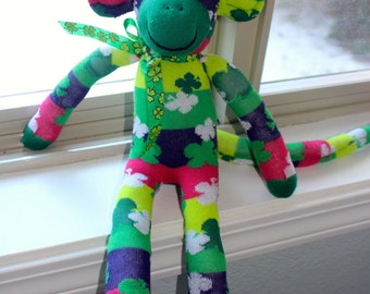 Sock Monkey Doll St. Patrick's Handmade Green Shamrock Stripes