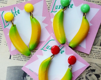 Totally Tropical Bananas! Handmade 40s 50s vintage inspired novelty earrings by Luxulite