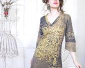 Misskarret Art to Wear Organic Cotton V Neck Dress Hand Printed Geometric Dress Metallic Gold Print Jersey Tunic Dress, Organic Dress