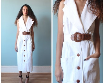 white sleeveless belted dress / shirt dress with pockets / 1980s / small