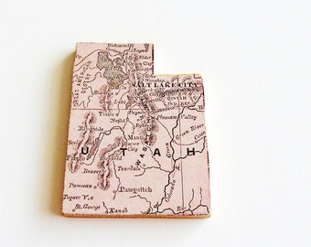1907 Utah Brooch - Pin / Unique Wearable History Gift Idea / Upcycled Antique Wood Jewelry / Timeless Gift Under 50