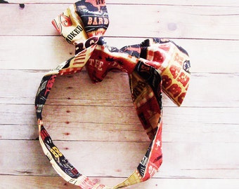 Red - Black - Brown BBQ Head Scarf / Hair Accessory / Barbeque Neck Scarf / Handbag or Walker Adornment / Rockabilly Scarf / Gift Under 20