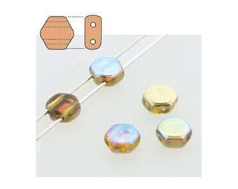 Honeycomb Czech Beads 2 holes 18210 , Topaz Gold Rainbow (2 strands about 60 beads), 6mm Flat Hexagon Beads, Honey Comb Bead, Preciosa