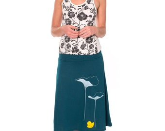 Unique Gift for Her . Stretch Skirt . Teal Blue Jersey Skirt . A-line Casual Skirt . Applique Skirt -Lotus leaves and a little duck