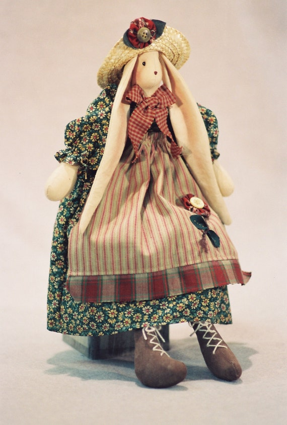 Mailed Cloth Doll Pattern 16in Cute Country Girl Bunny Rabbit