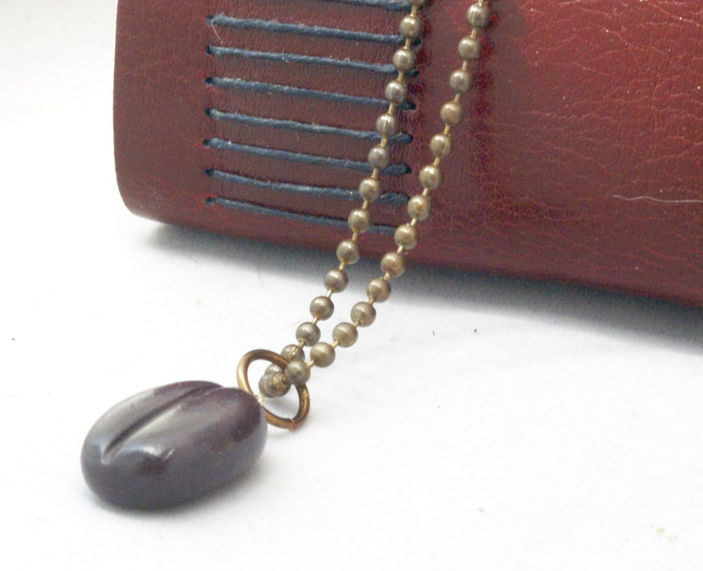 handmade coffee bean necklace gift for coffee