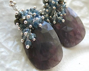 "Rose Cut Sapphire Earrings-Black Sapphire Earrings-""Storm Cloud"""
