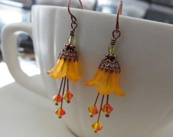 Petite Orange Lily Earrings - Lucite Flowers, Crystal, Antique Copper Mini Blooming Earrings