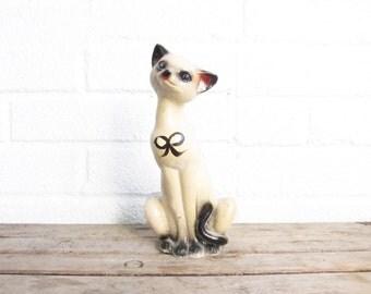 Vintage Chalkware Cat - Chalkware Siamese Cat Figurine - Chalk Ware Mid Century Carnival Figure - Mid-Century Mod Collectible Kitsch Cat