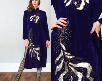 SALE - Sequin Velvet Dress . Deep Purple