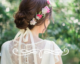 pink and ivory flower crown, pink floral crown, pink and gold wedding, hot pink wedding, bridal hair accessories, floral hair piece, #87