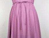 Vintage Mauve Pink Stripe Sheer Dress M