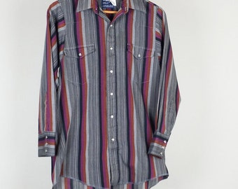 Vintage Wrangler Stripe Cowboy Western Shirt Mens M