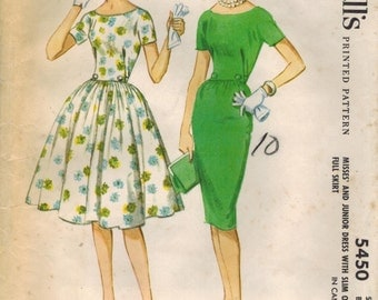 1960s McCalls 5450 Vintage Sewing Pattern Misses Party Dress, Afternoon Dress, Full Skirt Dress, Sheath Size 14 Bust 34