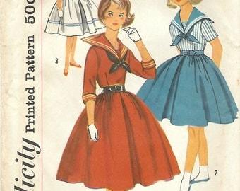 1950s Simplicity 2291 UNCUT Vintage Sewing Pattern Girls Sailor Dress, Full Skirt Dress Size 8
