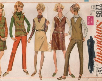 1960s Simplicity 7795 Vintage Sewing Pattern Misses Jumper, Top, Skirt, Pants Size 10 Bust 32-1/2