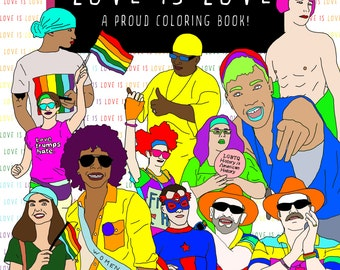 Love Is Love Coloring Book, Gay Pride Parade, LGBT, Printable Adult Coloring Book Instant Digital Download, Gay Pride Parade Coloring Book