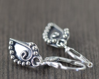 Valentine's Day gift Sterling silver leaf earrings bali jewelry botanical jewelry gardening gifts nature jewelry