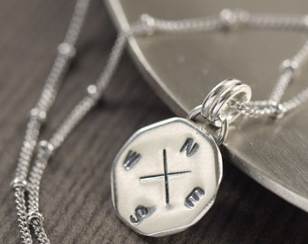 Compass necklace travel necklace compass charm necklace silver Compass rose necklace  gifts for her