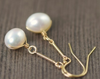 Pearl earrings white pearl earrings gold filled wire wrapped pearl earrings long earrings june birthstone earrings  gifts for her