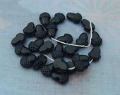 Vintage Black Glass Acorn Beads - 4x6 mm French Jet Flat Back Nailheads or Sewons (20 pc)