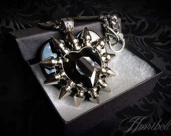 Spiked Black Heart Necklace // Spike Necklace // Gothic Necklace // Spike Jewelry // Gothic Jewelry // Punk Necklace // Heart Pendant