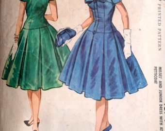 Vintage 50's McCall's 4674 Sewing Pattern, Misses' Dress with Attached Petticoat, Size 14, 34 Bust, Cocktail Party Dress