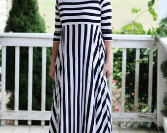 LillyAnnaKids Ladies GRACE Black White Stripe Dress LALA Modest