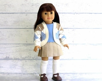 Prep School Outfit, 18 inch Doll Clothes, Pleated Skirt, Cardigan Sweater, Tee Shirt, Knee Socks